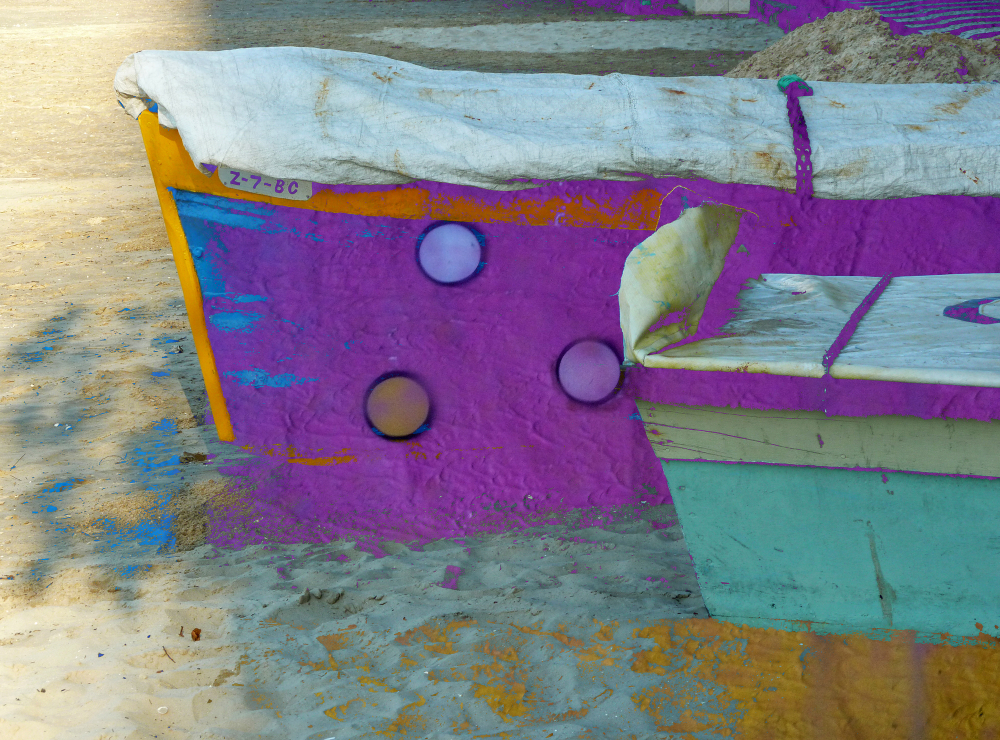 Abstract design over fishing boats
