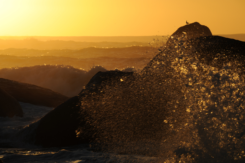 Sunset over ocean surf against rocks