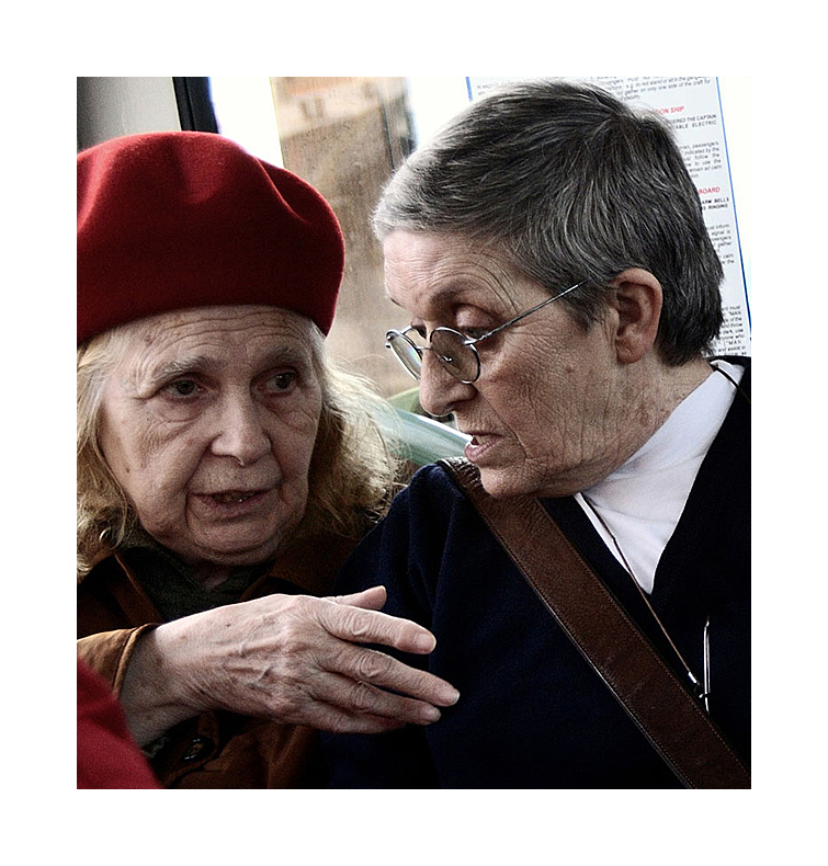 Two old women speaking about their life