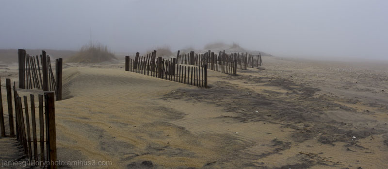 pea island foggy dunes Outer banks, North Carolina