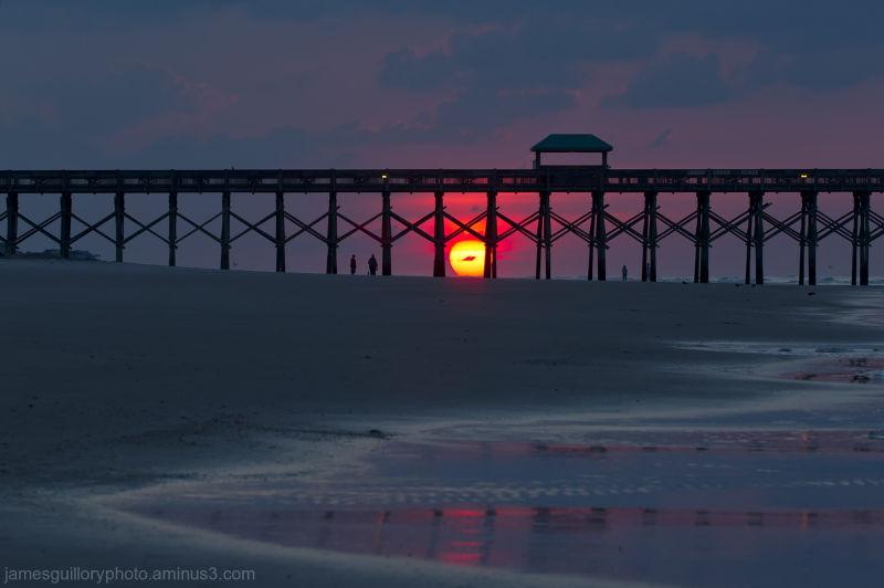 folly beach pier sunrise,charleston south carolina