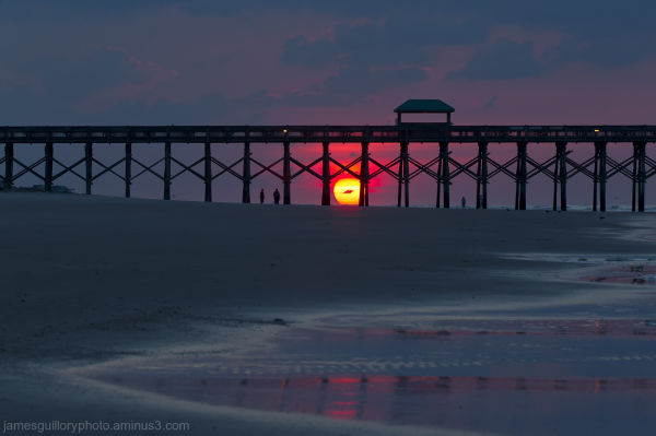 folly beach pier sunrise,charleston south carolina