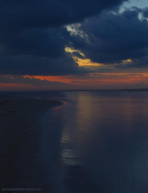 sunset off the coast topsail island north carolina