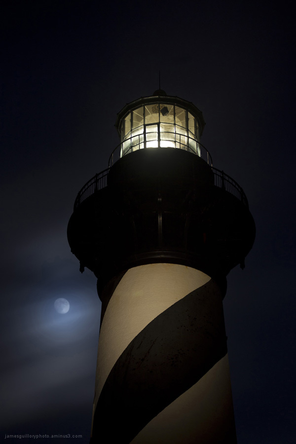 cape hatteras lighthouse, moon, north carolina