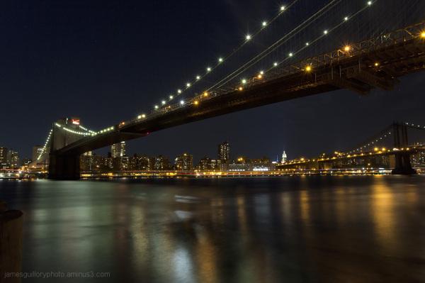 brooklyn bridge, night sky, brooklyn, new york