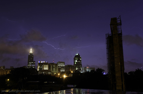 lightning storm over raleigh, north carolina
