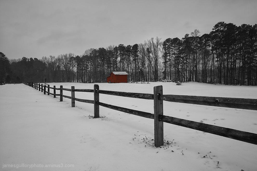 winter snow at lake benson park, north carolina