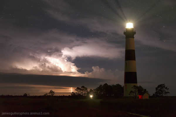 bodie lighthouse, north carolina, lightning, stars