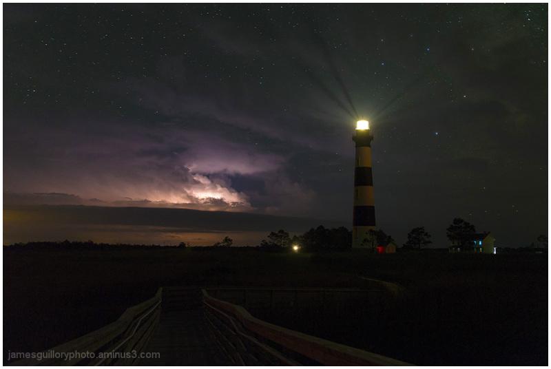 bodie lighthouse, north carolina, lightning, stars