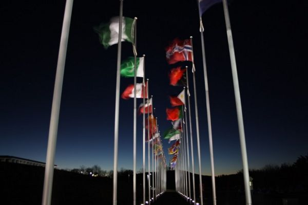 flags in the wind