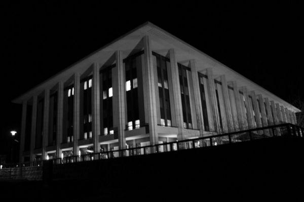 library at night