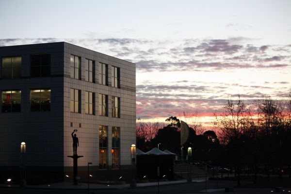 building at sunset