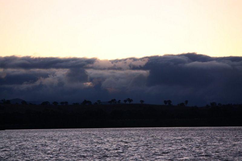 clouds and lake at sunset