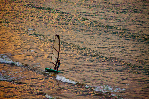 Windsurfing in the evening
