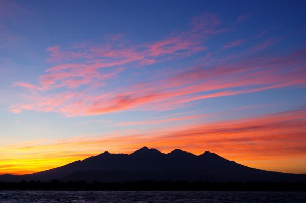 Colourful Mt Rinjani from Gili T