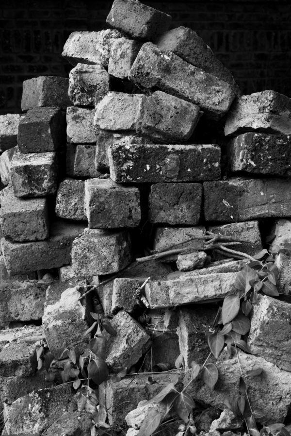 Stack pile of bricks Black and White