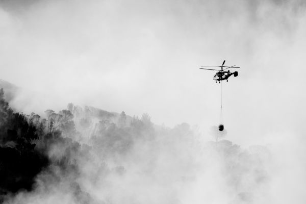 Fire signal hill helicopter smoke