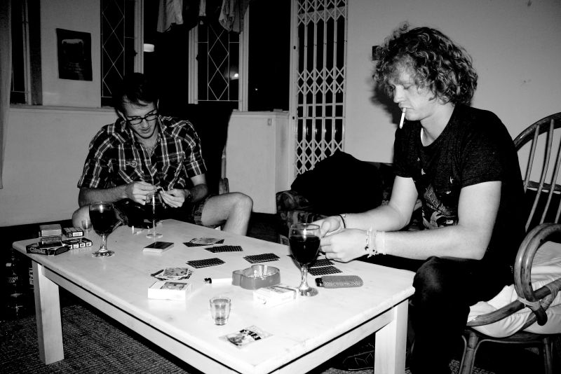 Playing cards wine table black and white
