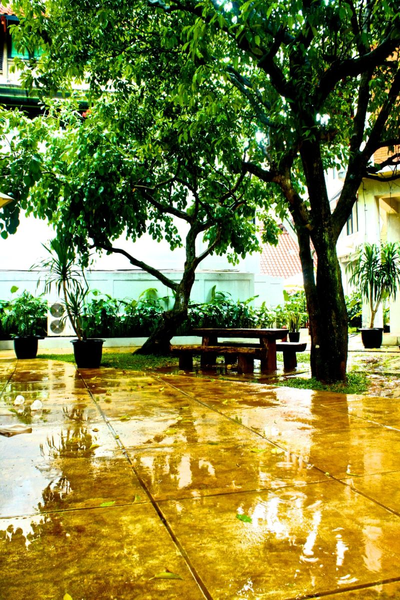 a glassy floor after the rain in my campus