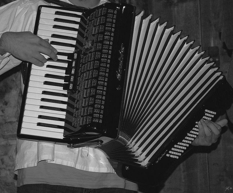 Un accordéon entre les mains