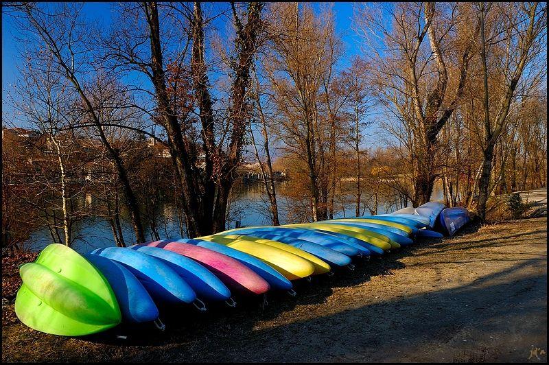 des canoës et des kayaks rangés sous les arbres