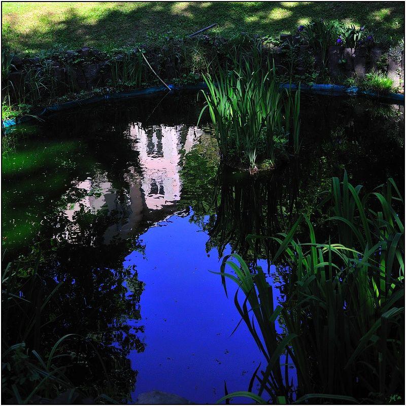 Une grande maison se reflète dans un bassin