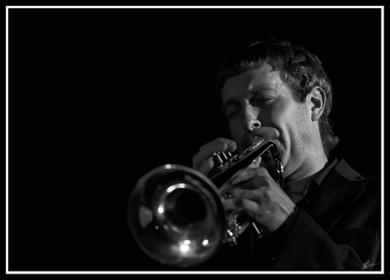 Black and White of a trumpeter in a jazz concert