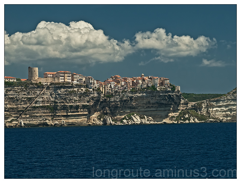 The town of Bonifacio, Corse, seen from the Ferry