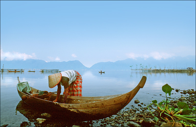 Fisherman in Maninjau Lake, Indonesia