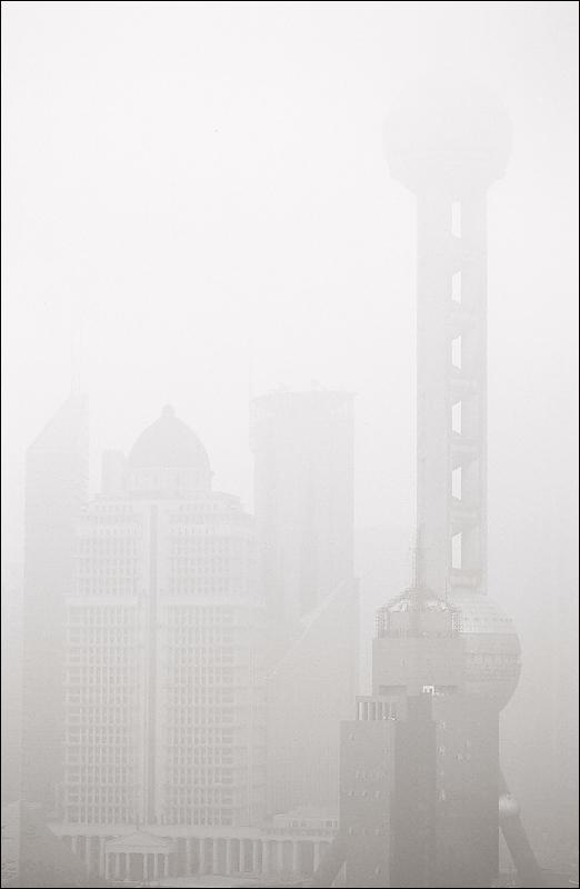 Foggy day in Shanghai, China
