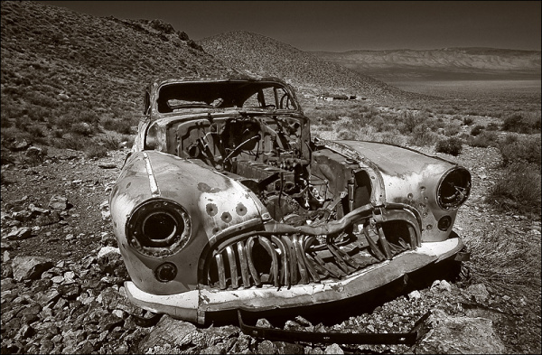 Old car in a ghost town of Death Valley, USA