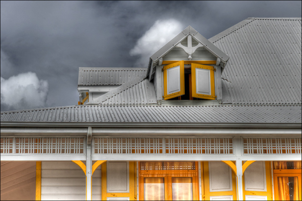 White and yellow house in Caribbeans Island