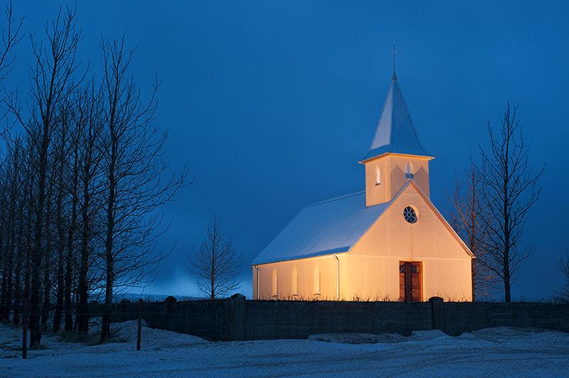 Icelandic church in winter