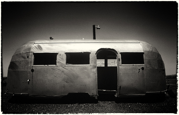 Old airtream on Route 66, Bagdad Cafe, Califiornia