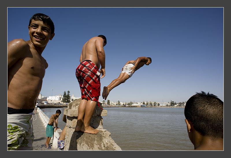 Water games in Essaouira, Morocco