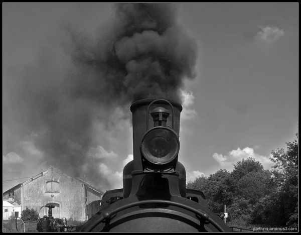 Black and white steam engine, Les Herbiers, Vendée