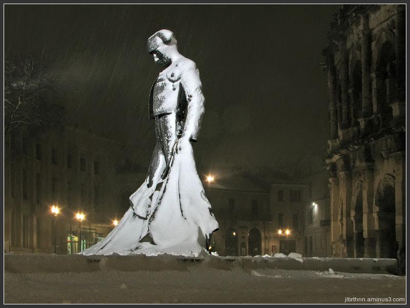 Christian Montcouquiol sous la neige, Nïmes