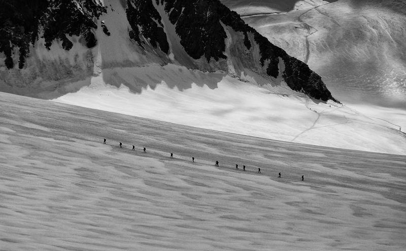 Men escalating around Matterhorn