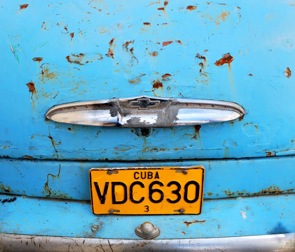 Detail of an old cuban car