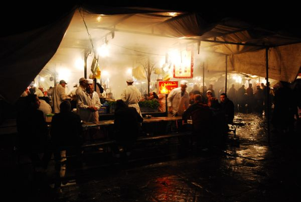 Food stands in Marrakech