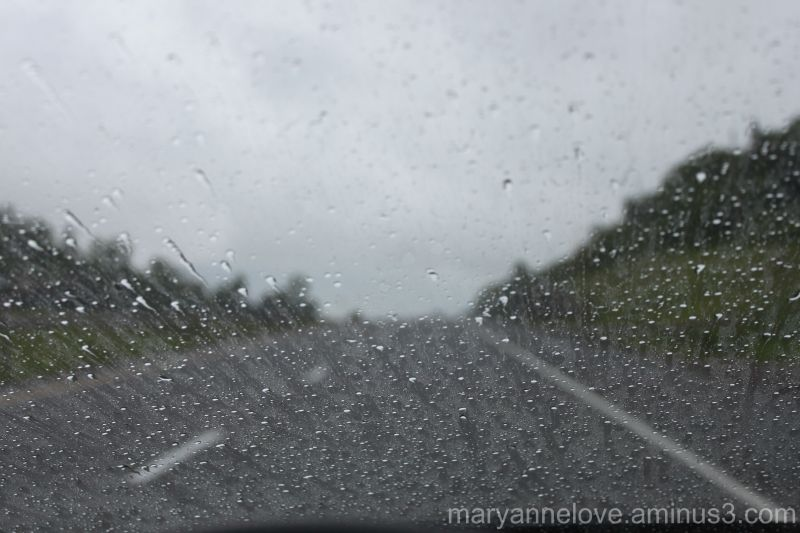 Taking a photo while driving in the rain