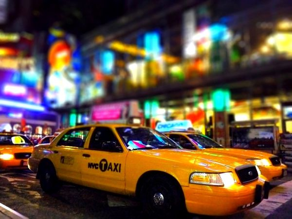 yellow cab in time square colors