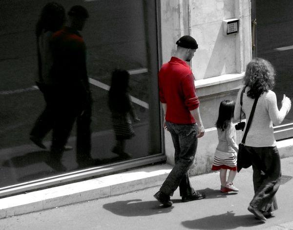 family walking in the street