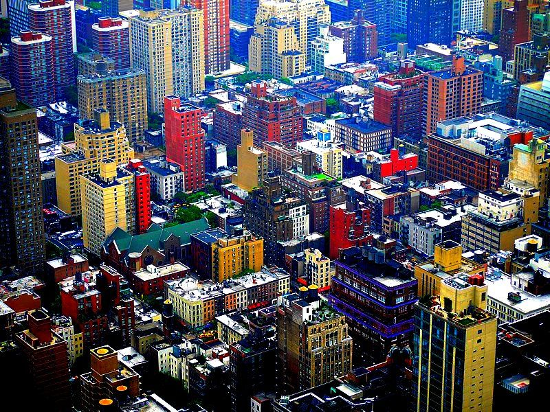 colored view from the Empire State building.