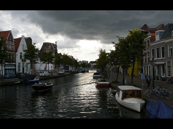 light on Leiden canal