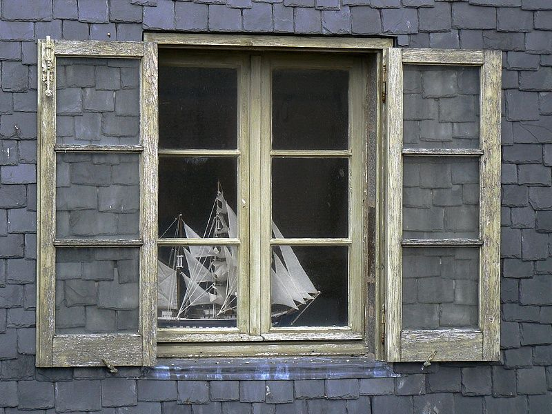 the boat behind the window