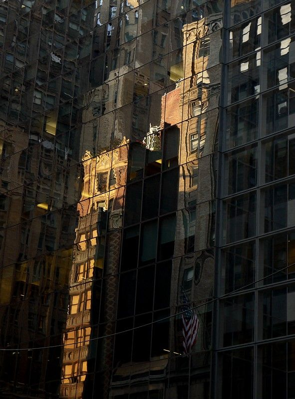 reflection of sunset light on buildinds