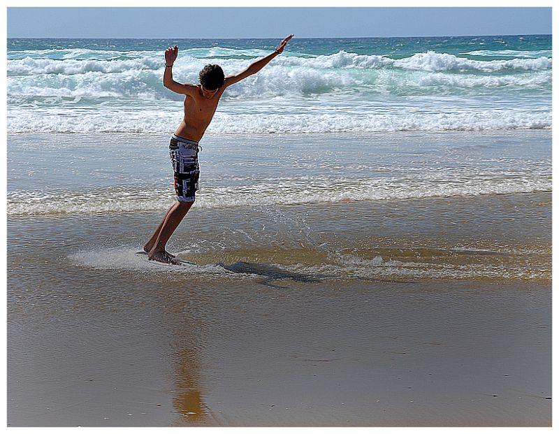 Skimboard at the ocean