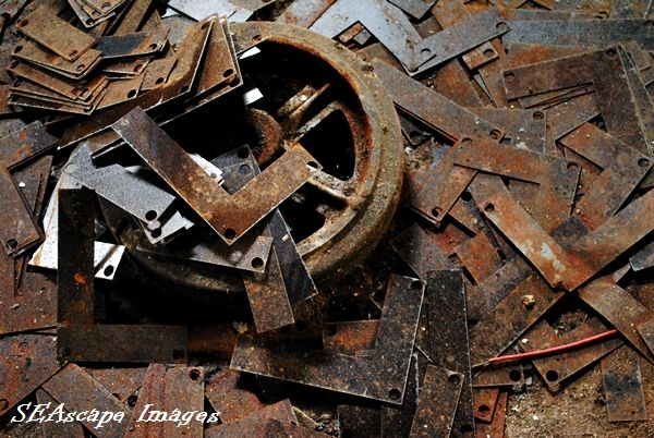 Rusty steel straps found in an abandoned factory