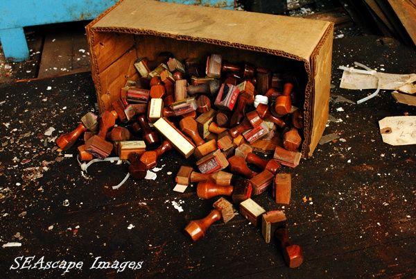 Box of rubber stamps